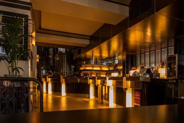Inside a O Frango Frites Restaurant